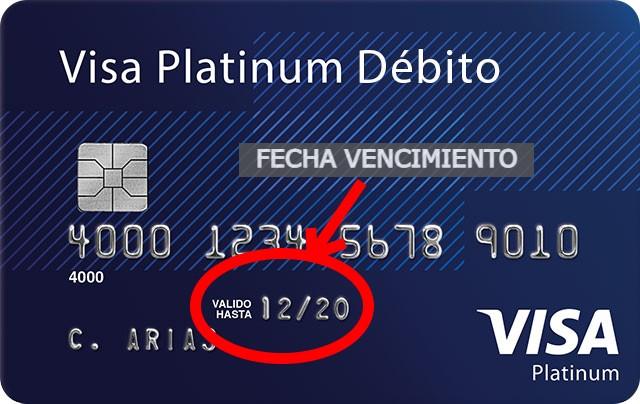 Fecha de vencimiento de una tarjeta de débito